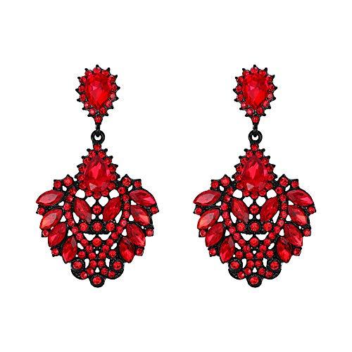 Pendientes de Mujer - Clearine Aretes en Forma de Corazón Amor Floral, Estilo Elegante Precioso Cristales para Boda Novia Fiesta Rojo