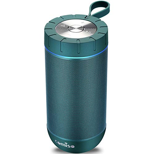 COMISO Waterproof Bluetooth Speakers Outdoor Wireless Portable Speaker with 24 Hours Playtime Superior Sound for Camping, Beach, Sports, Pool Party, Shower (Teal)