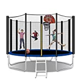 Tatub 12FT Trampoline for Kids and Adults, Outdoor Fitness Trampoline with Basketball Hoop, Enclosure, Ladder, Spring Cover Padding (Black with Basketball)