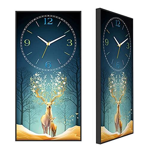Reloj de jardín, Reloj de Pared para Interiores Reloj de Pared con Pintura Decorativa silenciosa 11.8X23.6 Pulgadas Reloj de Pared de Panel de MDF de Estilo Moderno Sala de Estar Do
