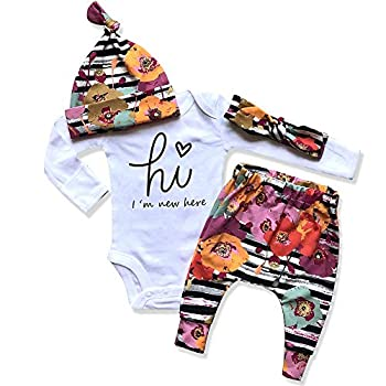 Newborn Baby Girl Clothes I m New Here Infant Newborn Outfit Cute Baby Girl Outfits 4PC Set Newborn