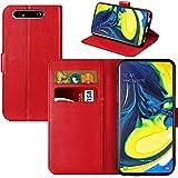 iPro Accessories - Funda para Galaxy A80/A90, Galaxy A80/A90, funda tipo cartera, Galaxy A80/A90, funda tipo cartera, con función atril, ranuras para tarjetas y soporte de identificación (rojo)