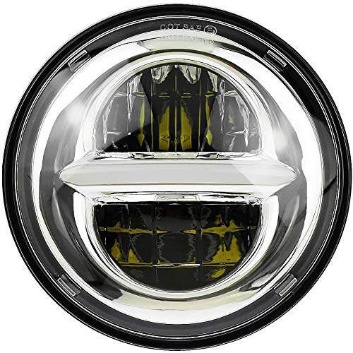 Faro de proyección LED de 5.75 '', faro redondo de motocicleta en pulgadas con luz de circulación diurna。 (plateado)
