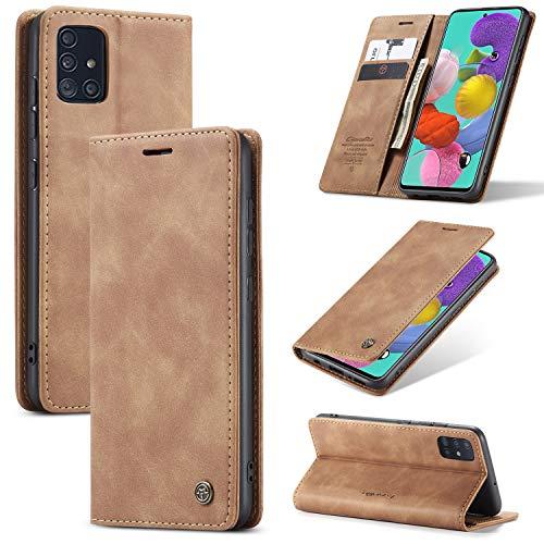 UEEBAI Handyhülle für Samsung Galaxy A51, Retro Matte Handyhülle PU Fallschutz Lederhülle Weich TPU Klapphülle mit Kartenfach Standfunktion Magnetverschluss Flip Hülle Handytasche - Braun
