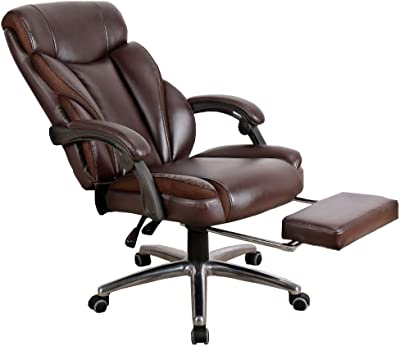 JIAYUAN Office Chair Executive Recline PU Leather High Back Home Computer Chair Reclining Lounge Chair with footrest Bearing Weight 150kg Video Game Chairs (Color : Brown)