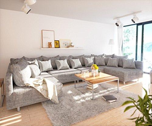 DELIFE Couch Clovis XL Hellgrau Strukturstoff Wohnlandschaft modular