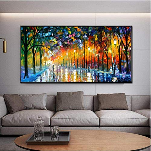 YaShengZhuangShi Pintura de Lienzo sin Marco 70x140cm póster de Paisaje Pared bajo la luz de Lluvia Pintura de Carretera Cuadros de Arte de Pared para la decoración del hogar de la Sala