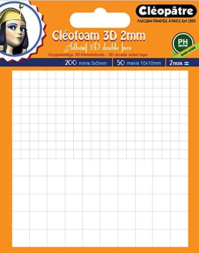Cléopâtre Cléofoam Cléopâtre-SCRAP-M2-Cléofoam 3D Mousse adhésif Double Face en 2mm Scrapbooking, Colle, Transparent, Carré de 2 mm d'épaisseur