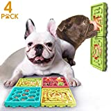 KUDES 4 in 1 Dog Lick Mat Slow Feeder Set, Dog Slow Dispensing Treater Bowl + Peanut Butter Lick Pad Combo with Suction Cup for Pet Bathing, Grooming and Training (4PCS Green Mix)