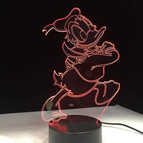 jiushixw 3D acryl nachtlampje met afstandsbediening van kleur veranderende lamp cartoon eend kind verjaardagscadeau leuke eend kind slaapkamer creatieve gondels tafellamp crème stekker