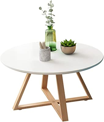 Coffee Tables Coffee Table Mini Coffee Table Home Restaurant Low Table Round Coffee Table Bedroom Small Desk Living Room Solid Wood Coffee Table (Color : White, Size : 60 * 45cm)