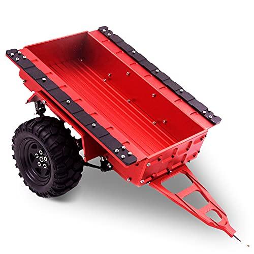 Remolque de camión a Escala 1/10, Remolque de Montaje de Enganche de Metal RC Trail Car Toy con Dos neumáticos de Goma(Rojo)