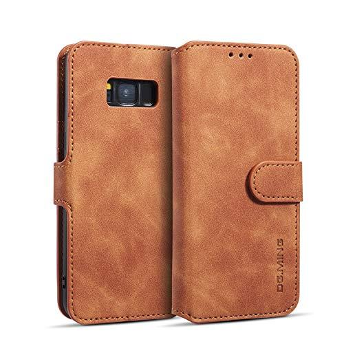zanasta Echt Ledertasche kompatibel mit Huawei Y5 2019 Hülle Premium Leder Tasche mit Kartenfächern, Schutzhülle Braun