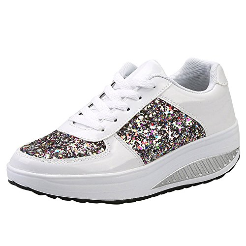 Damen Sneaker Glitzer Pailletten Lack Elegant Schnürung Schuhe Frauen Dicker Sportschuhe(Weiss,40)