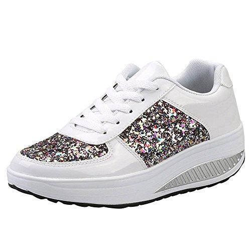 MRULIC Damen Gym Turnschuhe Freizeit Schnürer Sportschuhe Pailletten Glänzende Outface Schuhe Laufschuhe Sneaker Wedges Schuhe(Weiß,37 EU)