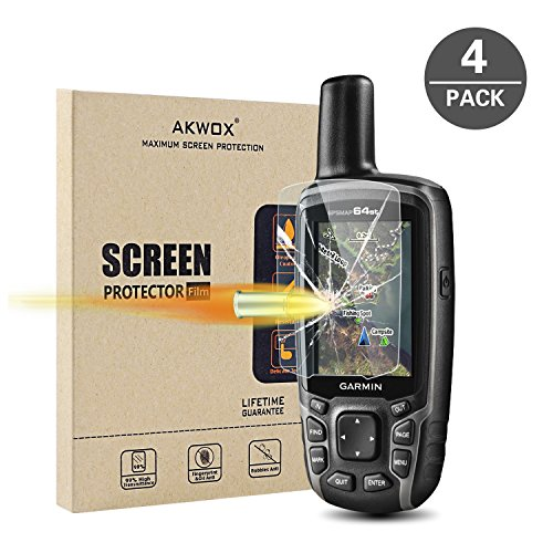 AKWOX [4 Stück] Schutzfolie für Garmin GPSMAP 62 64 64s 64st, 0.33mm 9H Härte Kratzfest Panzerglasfolie für GPSMAP 62 62s 62sc 62st 62stc 64 64s 64st GPS Displayschutzfolie