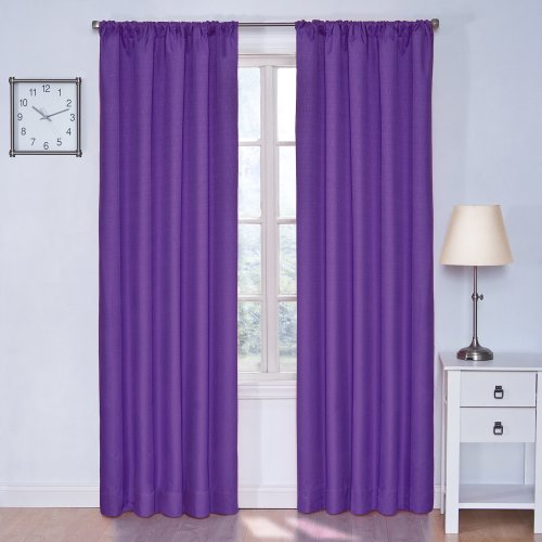"ECLIPSE Kendall Thermal Insulated Single Panel Rod Pocket Darkening Curtains for Living Room, 42"" x 84"", Purple"