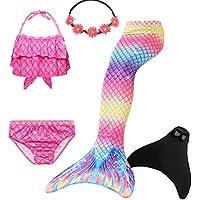 UrbanDesign Cola De Sirena con Monoaleta Disfraz Traje De Sirena con Aleta para Niña para Nadar, 11-12 años, Sirena Colorida