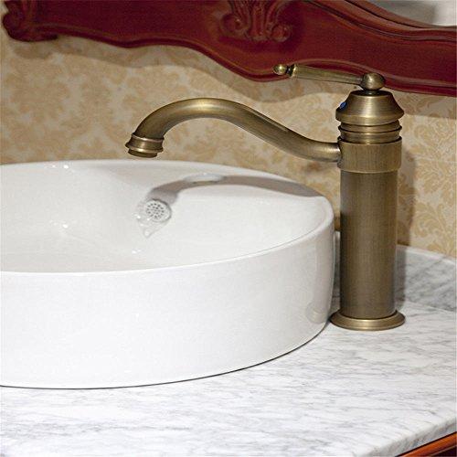 QIMEIM - Grifo mezclador para lavabo de baño (latón envejecido)