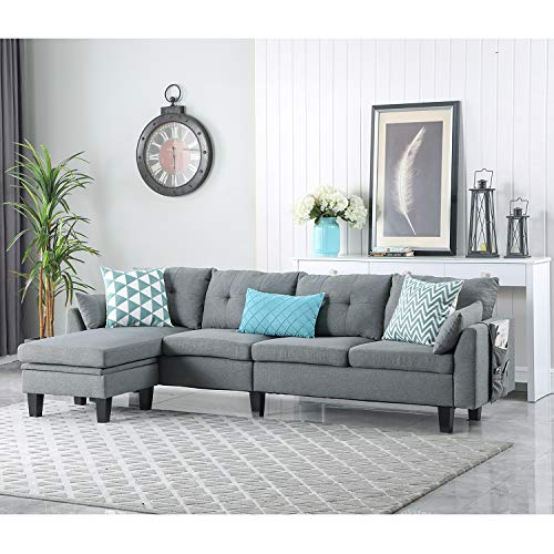 Ohuhu Convertible Sectional Sofa Couch, 4-seat L-Shape Sofa Couch with Movable Storage Ottoman& Bag for Small Space Apartment Loft, Breathable Chenille Fabric, Foam Cushion & Solid Wood Frame, Grey