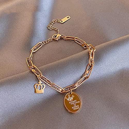 Clásico elemento de corona letra oblea pulsera de acero de titanio para mujer joyería indeleble de moda pulsera de niña de fiesta Pulsera de la amistad Regalos para mamá, esposa, novia.