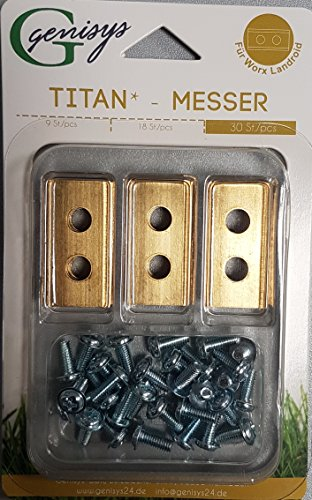 genisys 30 Titan Ersatz-Messer -Klingen & Schrauben für die Landroid® Mähroboter von Worx TOP Qualität