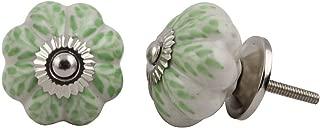 Set of 12 Pieces Leaf Floral Ceramic White Cabinet Knobs Furniture Handle Drawer Pull Vintage Designer (GREEN)