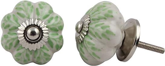 Set of 12 Pieces Leaf Floral Ceramic White Cabinet Knobs Furniture Handle Drawer Pull Vintage Designer, Green
