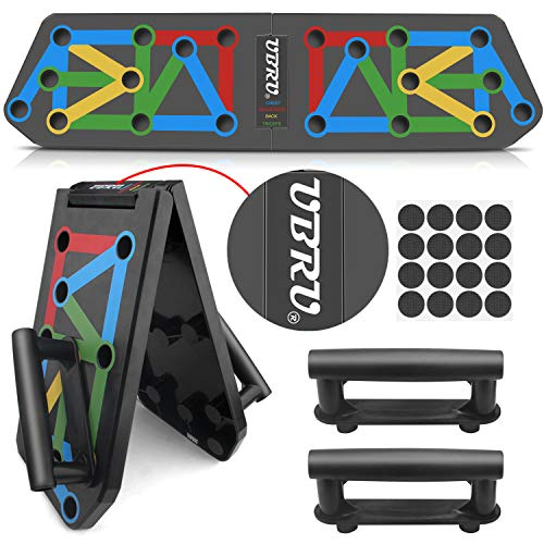 UBRU Liegestütze Brett, Upgrade 13 in 1 Push Up Board mit angenehmem Handgriff ideal für Home Training, einzigartige Farbcode für professionell Muskelaufbau, deutsche Anleitung verfügbar