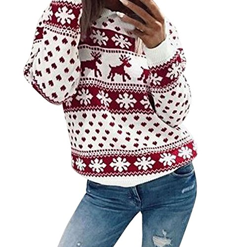 Ugly Christmas Sweater, ZYooh Women Xmas Snowflake Elk Floral Printed Sweatshirt Plus Size Blouse Tops (4XL, Red)