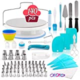 Cake Decorating Kit - 140-Piece Baking Supplies Set - Bakeware Set with Turntable, Spatula, Piping Tips Nozzles, Pastry Bags, Couplers, Scrapers - Great Gift Idea