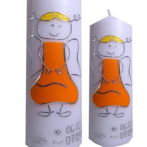Taufkerze 200x70 Mädchen Junge SCHUTZENGEL orange silber Inclusieve Namen Geburts Taufdatum Alle Farben möglich ITP015
