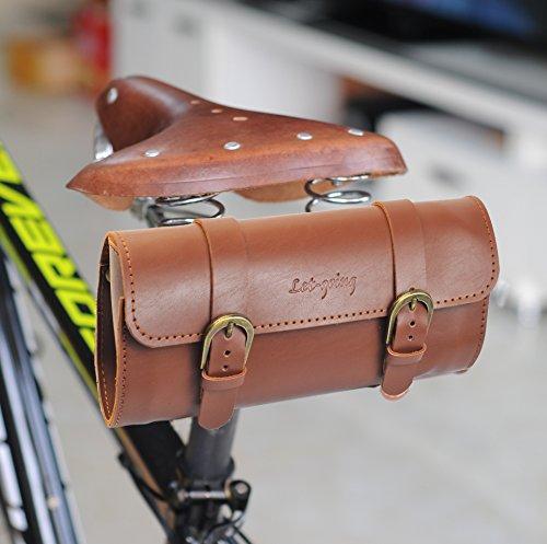 Vintage Road City Bike PU Big Bag Sattel hinten oder Lenker 22 * 10 * 6,5 cm, braun
