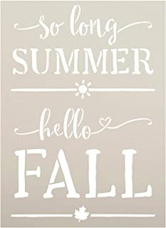 So Long Summer Hello Fall Stencil by StudioR12   Craft Seasonal Cursive Sun Leaves   DIY Heart Lettering Gift Simple Rustic Autumn Harvest Quote   Reusable Mylar Template   Paint Wood Sign (8