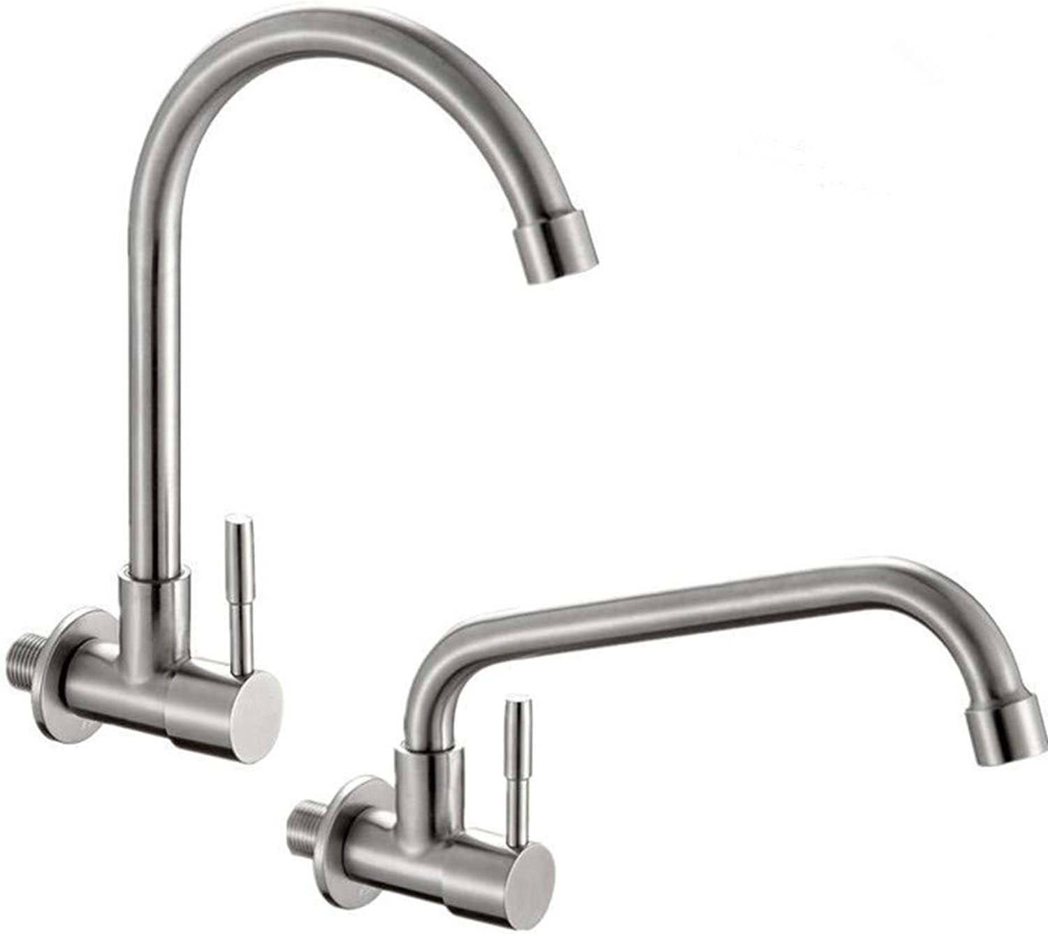 Zhcmy?Faucet Stainless Steel Kitchen Faucet Single Cold Into The Wall Sink Sink Tow Pool Balcony Laundry Pool Faucet