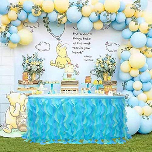 Falda de Mesa de Tul Colorida para Rectángulo o Mesa Redonda,Decoración de Mesa de Tul de Arco Iris Hecha a Mano para Fiesta,Cumpleaños,Carnaval,Decoraciones para Habitaciones de Unicornio Azul M
