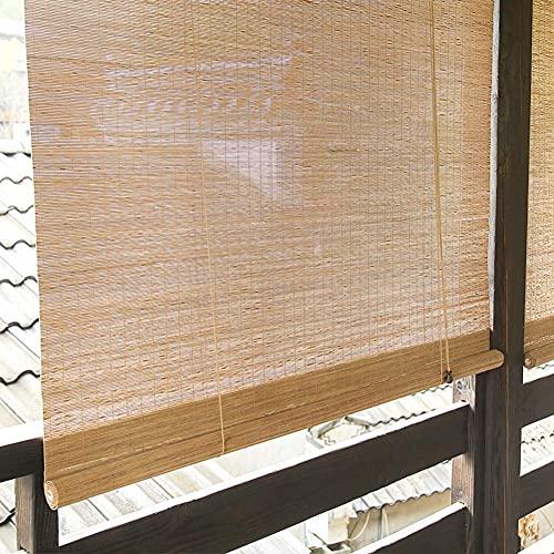 AINUO Rollo de bambú para exteriores para terraza, pérgola, balcón, terraza, jardín, jardín, bloque de filtro de luz, 90% rayos UV, 85 cm, 105 cm, 125 cm, 145 cm x 220 cm