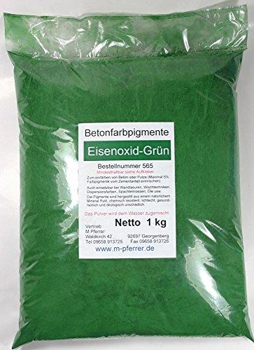 Eisenoxid Grün Pigment 1kg Pulver für Betonmasse, Putze, Gips, Harz