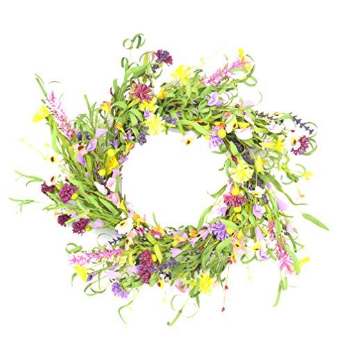 PRETYZOOM Künstlicher Frühlingskranz Girlande Blumenkranz für Haustür Wandbehang Kranz für Hochzeitsfest Party Wohnkultur