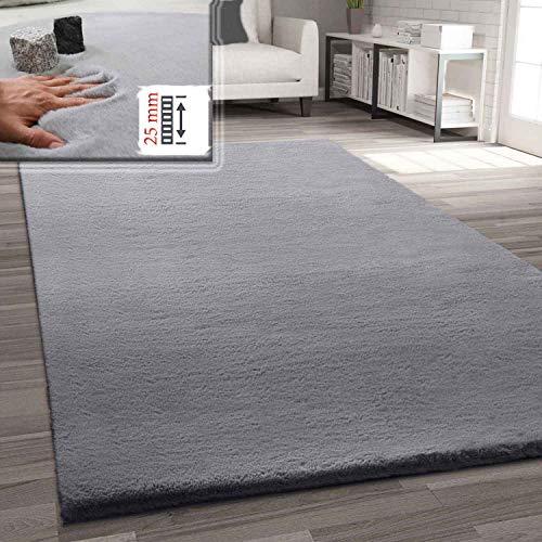 VIMODA Fellteppich Kunstfell Teppich Imitat in Grau Dicht Flauschig Seidiger Glanz Hochflor, Maße:120x160 cm