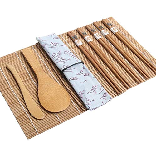 Sushi Making Kit Bamboo | Colorful, All Natural, Biodegradable Materials | 2 Rolling Mats, Spoon and Knife Spreader for Meat and Rice | 5 Pairs Chop Sticks Ornately Made