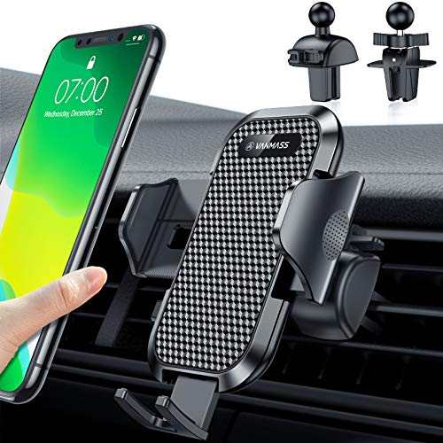 VANMASS Handyhalterung Auto Lüftung 2020 Upgrade Kfz Handyhalterung 100% Silikonschutz mit 2 Patentiertet Lüftungclips 360° Drehbar Smartphone Halterung Auto Für iPhone Samsung Huawei LG Xiaomi usw