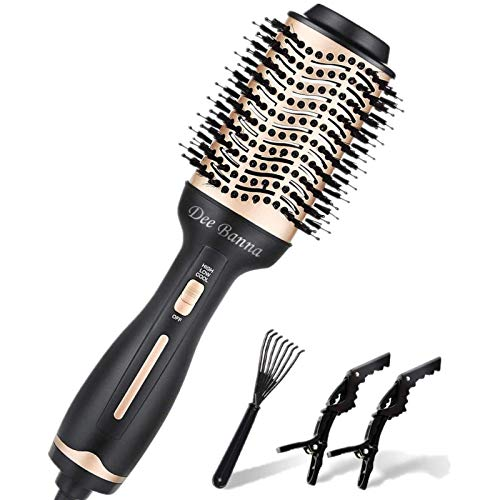Cepillo para secador de pelo, cepillo de aire caliente, secador de pelo, rigues, peine y plancha de pelo para todo tipo de cabellos (oro + negro)