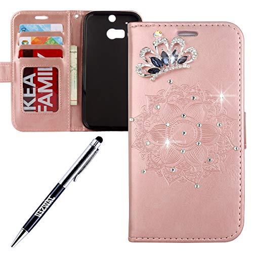 JAWSEU kompatibel mit HTC ONE M8 Hülle, HTC ONE M8 Handy Tasche Bling Diamant Glitzer Mandala Muster PU Leder Tasche Brieftasche Flip Case Wallet Tasche Lederhülle Schutzhülle Rose Gold