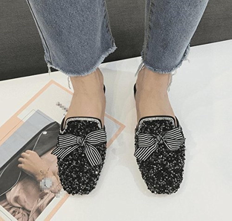 SCLOTHS Sommer Frauen Flip Flops Künstliche Diamanten Flachbild Hlfte Ziehen Baotou Atmungsaktiv
