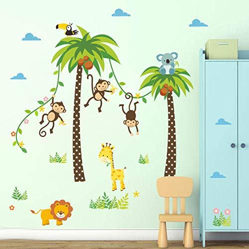 Dieren-muursticker leeuw giraffe aap schommel kokos boom muursticker voor kinderen kinderkamer affiche decoratie thuis