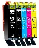 5 Cartucce Per Stampante XXL compatibile con Canon PGI-580 CLI-581 per Pixma TR7500 TR7550 TR8500 TR8550 TS6100 TS6150 TS6151 TS6200 TS6250 TS6251 TS6350 TS6351 TS705 TS9540 TS9550 TS9551c