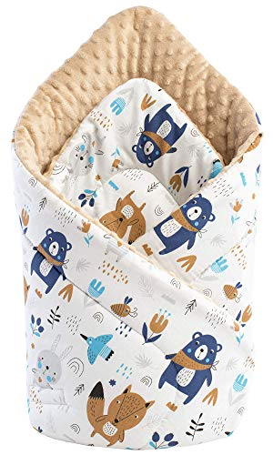 Medi Partners Einschlagdecke Steckkissen Minky 100% Baumwolle 75x75cm Babyhörnchen doppelseitig weich ganzjährig multifunktional antiallergisch Babys (Tiere im Wald mit Beige)