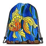 Lmtt Mochilas con cordón Mochila Estilo vitral con Peces Dorados en el Agua y Algas Mochilas de Viaje Mochila Escolar Tote