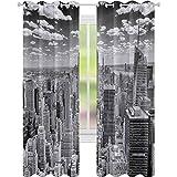 Cortinas de dormitorio, NYC sobre Manhattan de Top of Skyscrapers Urban Global Culture Artful City Panorama, W52 x L84 Blackout Drape para comedor, Gris